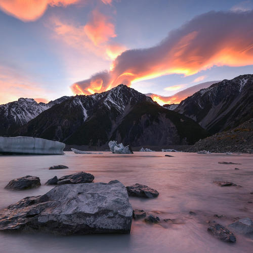 Sonnenuntergang am Mount Cook